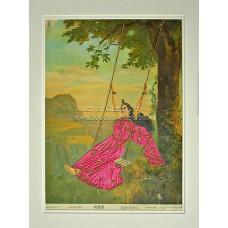 Ravi Varma Lithograph: Mohini Embellished