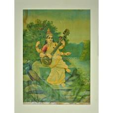 Ravi Varma Lithograph: Saraswati