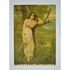Ravi Varma Lithograph: Ahilya