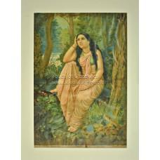 Ravi Varma Lithograph: Damayanti Vanavas