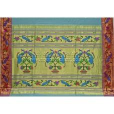 Peacock-Parrot Cotton Paithani Saree