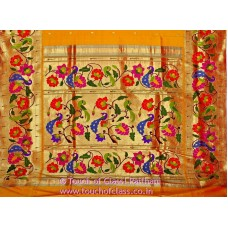 Exclusive Parrot Peacock Rose Brocade Paithani