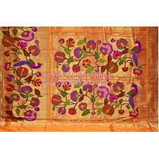 Exclusive Large Peacock Flower Brocade Paithani