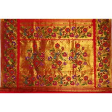 Exclusive Peacock-Parrot-Flower Brocade Paithani